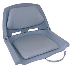 2X-Folding-Padded-Boat-Seats-Seat-Marine-Seating-Grey-Seat-Shell-Grey-Padding
