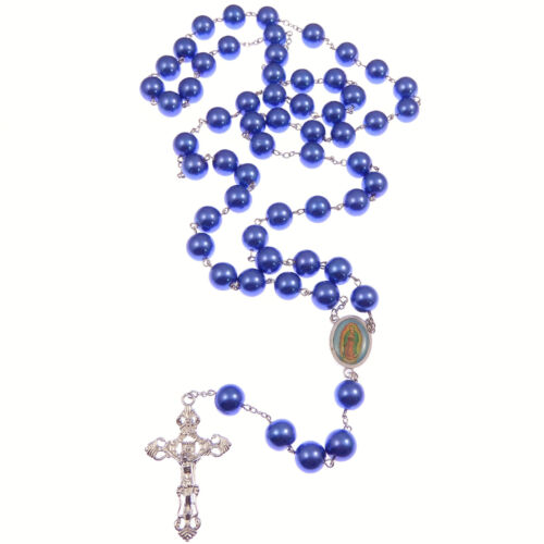 Very large pearlescent blue glass rosary beads Our Lady of Guadalupe centre 66cm