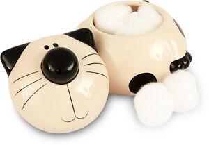 2Kewt-Ceramic-Cat-Feline-Cotton-Ball-Cotton-Balls-Holder-Bathroom-Accessory-New