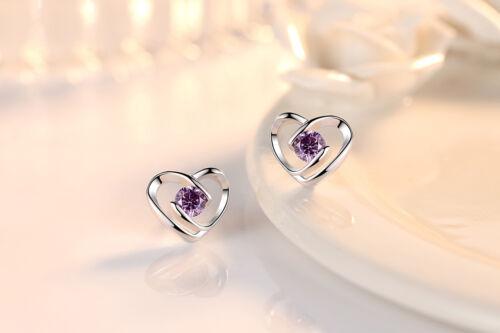 S925 Sterling Silver Stud Earrings Crystal Heart Shape For Women Xmas Gift