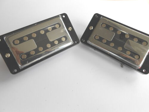Pair Chrome Guitar Neck /& Bridge H Toaster Humbucker Pickups with Black Surround