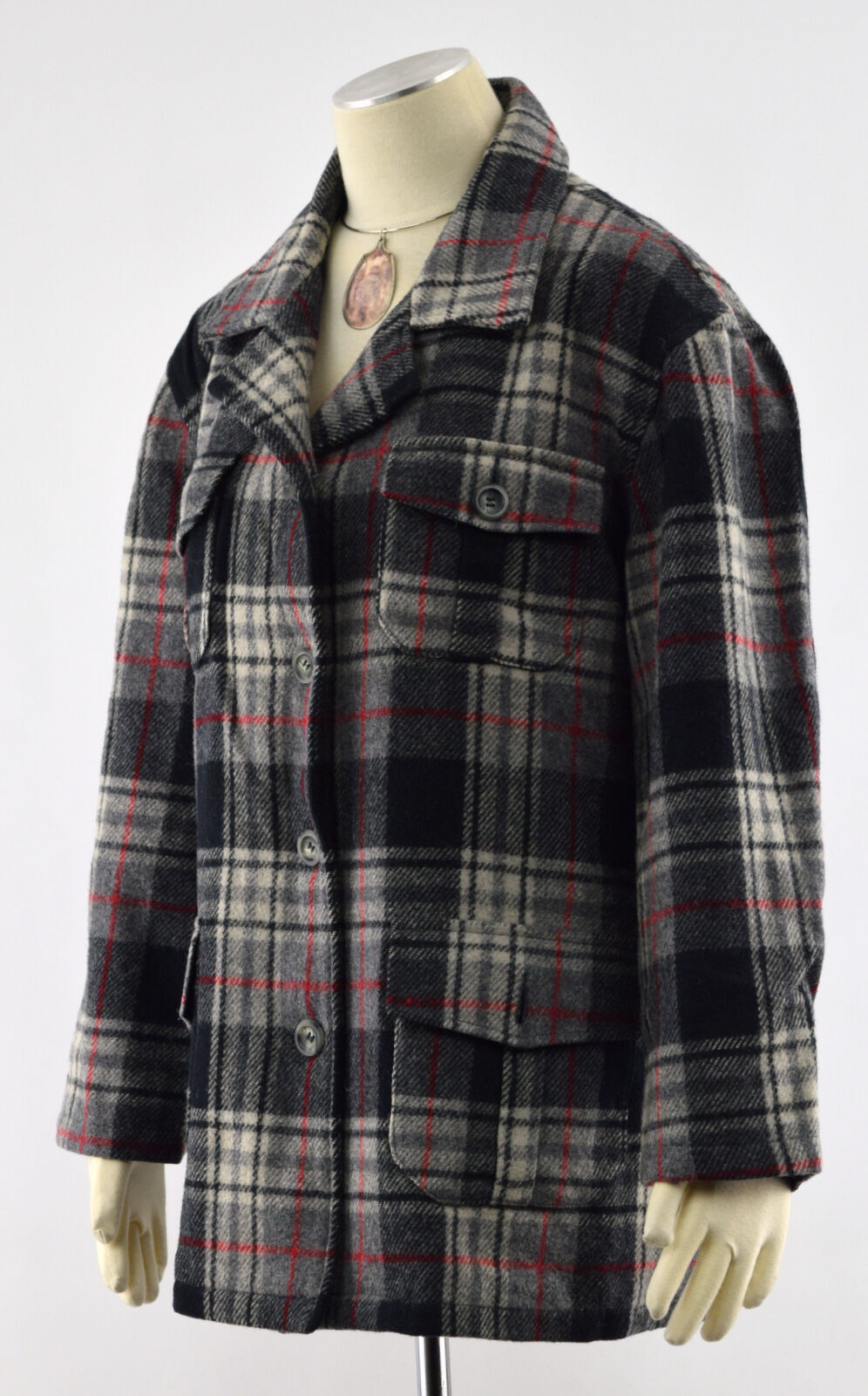 OLD NAVY Multi-color Plaid Wool Blend 4-Btn Fully Lined Winter Outdoor Coat Sz M