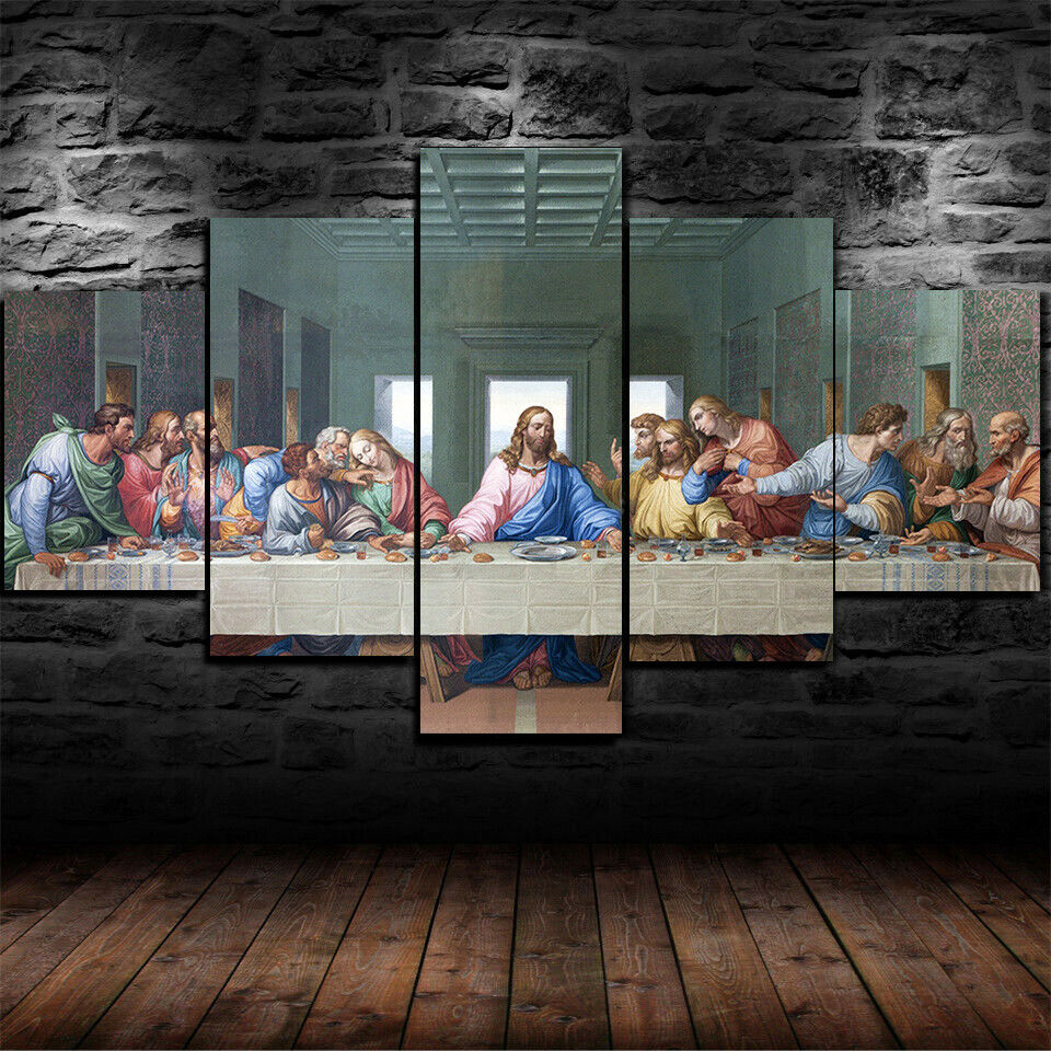 Christian Last Supper Jesus Christ Painting Canvas Wall Art Home Decor 5 Piece