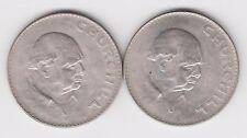 2 x 1965 ELIZABETH II COMMEMORATIVE CROWN (5/-)  COINS - CHURCHILL. Unc