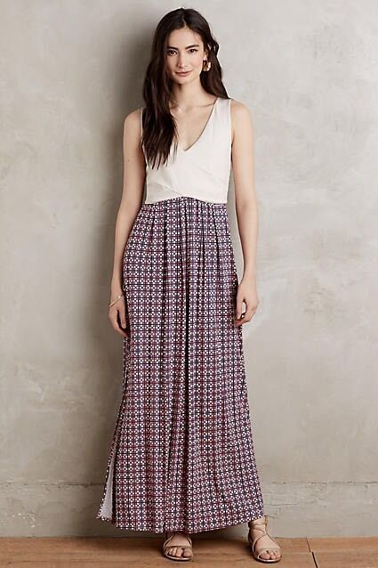NWT  148 Anthropologie Elysian Maxi Dress LARGE Neutral Motif By Maeve