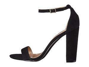 48b300d42b4 Steve Madden CARRSON Black Suede Women s Open Toe Block Heel Sandals ...