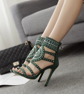 Women-Fashion-Stiletto-Suede-Rhinestone-Ankle-Strap-High-Heels-Sandals-Boots