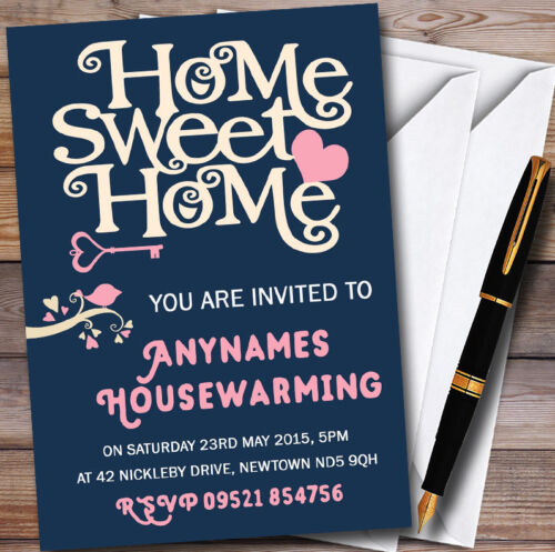 Navy Blue Home Sweet Home Personalised Housewarming Party Invitations
