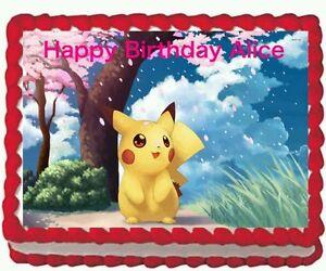 Pikachu Pokemon Birthday Party Edible image//Cake Topper 1//4 sheet Frosting