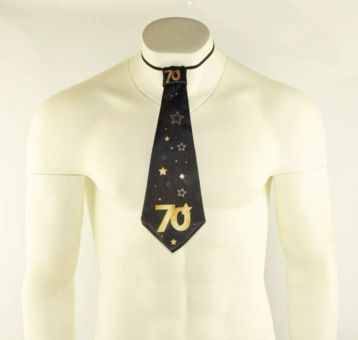 1x Negro 70th Feliz Cumpleaños Corbata Corbata Vestido De Fantasía Gracioso vestir Lazos Estrellas