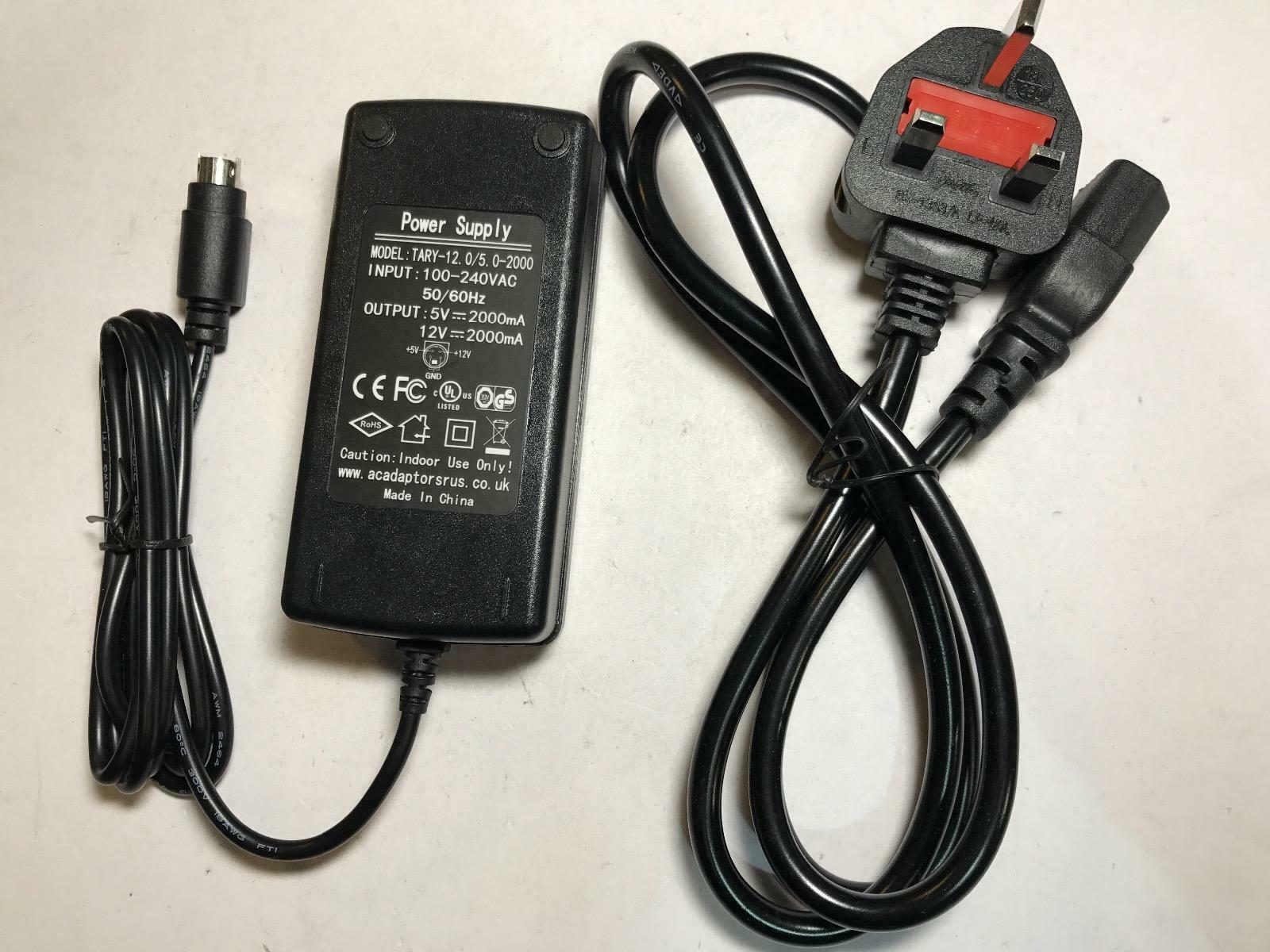 UK +5V +12V GND 4 Thin Pin Power Supply AC-DC Adaptor model TARY-12.0/5.0-2000