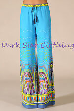 Bohemian Wide Leg Blue Palazzo Pants / Hippie Pants / Bell Bottom Pants / Small