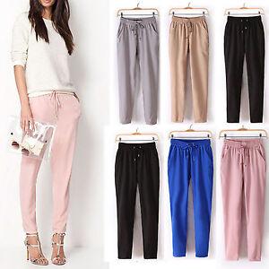 Damen-Hose-Harem-Pump-Pumphose-Sommerhose-Chiffon-Elastische-OL-Taillen-Hosen