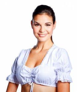 Dirndlbluse mit Spitze weiß Dirndl-Bluse weiss 32-46 Trachtenbluse Oktoberfest