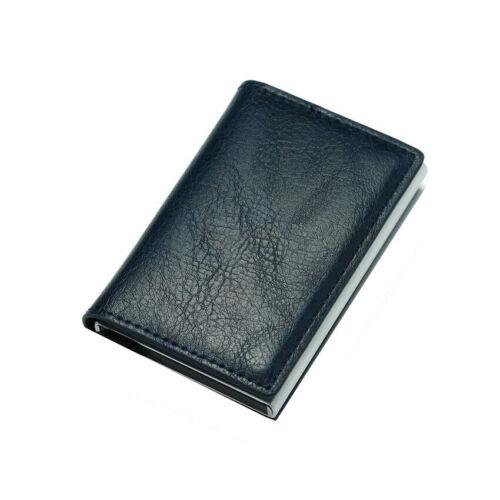 Business Credit Card Holder Metal RFID Blocking Purse Leather Travel Card Wallet