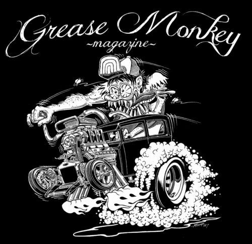 GREASE MONKEY  MAGAZINE Hot Rod t-shirt MD Art work by Gary Mizar