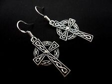 A PAIR OF DANGLY CELTIC CROSS  EARRINGS WITH 925 SOLID SILVER HOOKS. NEW..