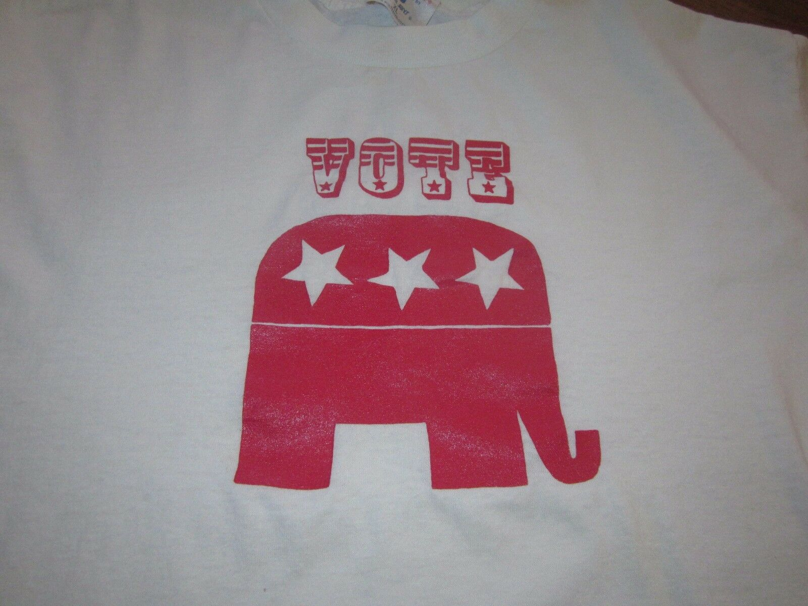 VOTE VINTAGE 1980S TEE SHIRT LONG SLEEVE STAR ELEPHANT RARE XL