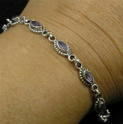 Faceted SQUARE Deep AMETHYST /& Silver Bracelet 400004