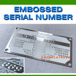 Willys Overland Jeep Data Plate Id Vin Tag M38a1 With Embossed