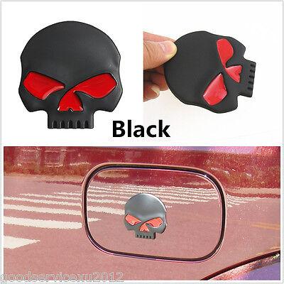 Black 3D Skull Head Devil Emblem Logo Auto Body Side Decor 3M Decal For Cadillac