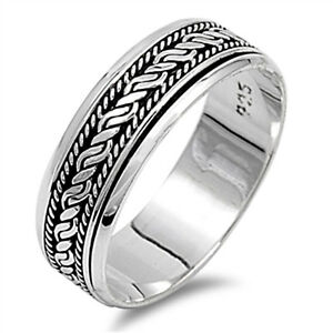 Men-039-s-Spinner-Wedding-Ring-925-Sterling-Silver-Bali-Rope-Weave-Band-Sizes-6-13