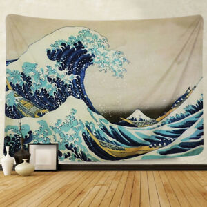 WALL-HANGING-TAPESTRY-KANAGAWA-OCEAN-WAVE-MOUNT-VIEW-BLANKET-ART-HOME-DECOR-ORNA