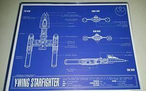 Star Wars Y-Wing Fighter Blueprint 11x14 w/Top Loader