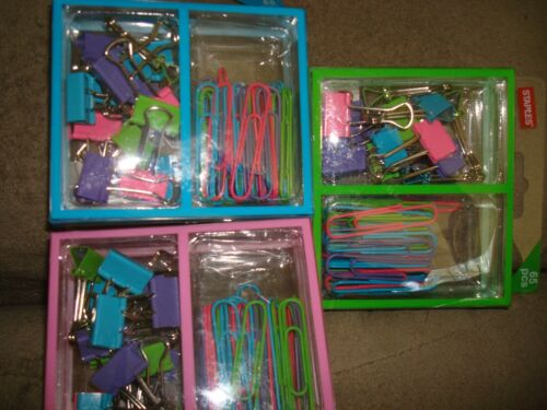 STAPLES PAPER CLIPS AND BINDERS ASSORTMENT 65 PCS LOT OF 3