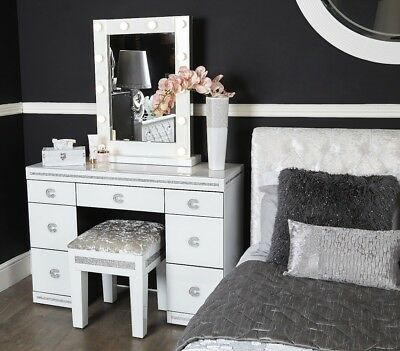 Crystalline White Glass Premium 7 Seven Drawer Bedroom ...