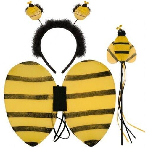 Girls Bee Animal Mini Beast Wings Boppers /& Wand Set Fancy Dress Costume Outfit
