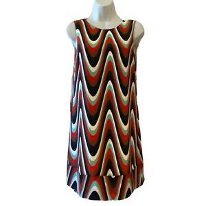 M-MISSONI-Women-039-s-Size-2-XS-Sleeveless-Silk-Shift-Dress-Abstract-Red-Black