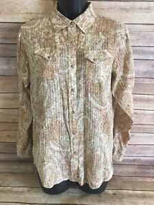 ARIAT-Pearl-Snap-Shirt-Size-Medium-Womens-Long-Sleeve-Paisley-Western-Rodeo-FIT