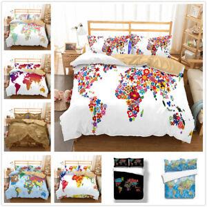 World Map Sheet Set.3d Colorful World Map Duvet Cover Bedding Set Pillowcase Quilt