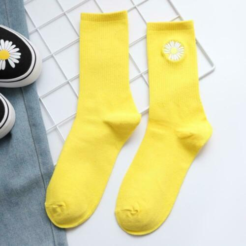 Solid Color Embroidery Small Daisy Socks Wild Breathable Women Tube Cotton Socks