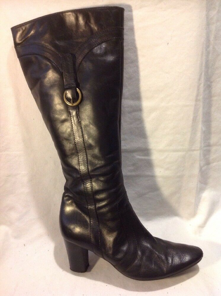 Clarks Black Knee High Leather Boots Size 5D