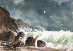 STORMY-WAVES-ON-COASTLINE-Watercolour-Painting-LOUISE-PEARSE-1904
