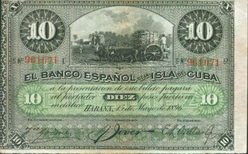 SCARCE SPAIN COLONIAL 10 PESOS 1896 ORIGINAL VF CONDITION