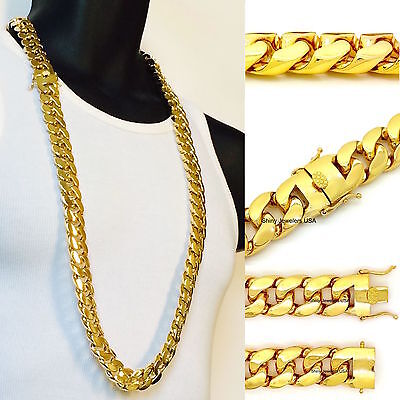Mens Gold 18mm Miami Cuban Link Chain Thick Heavy Solid 30 Necklace Box Clasp