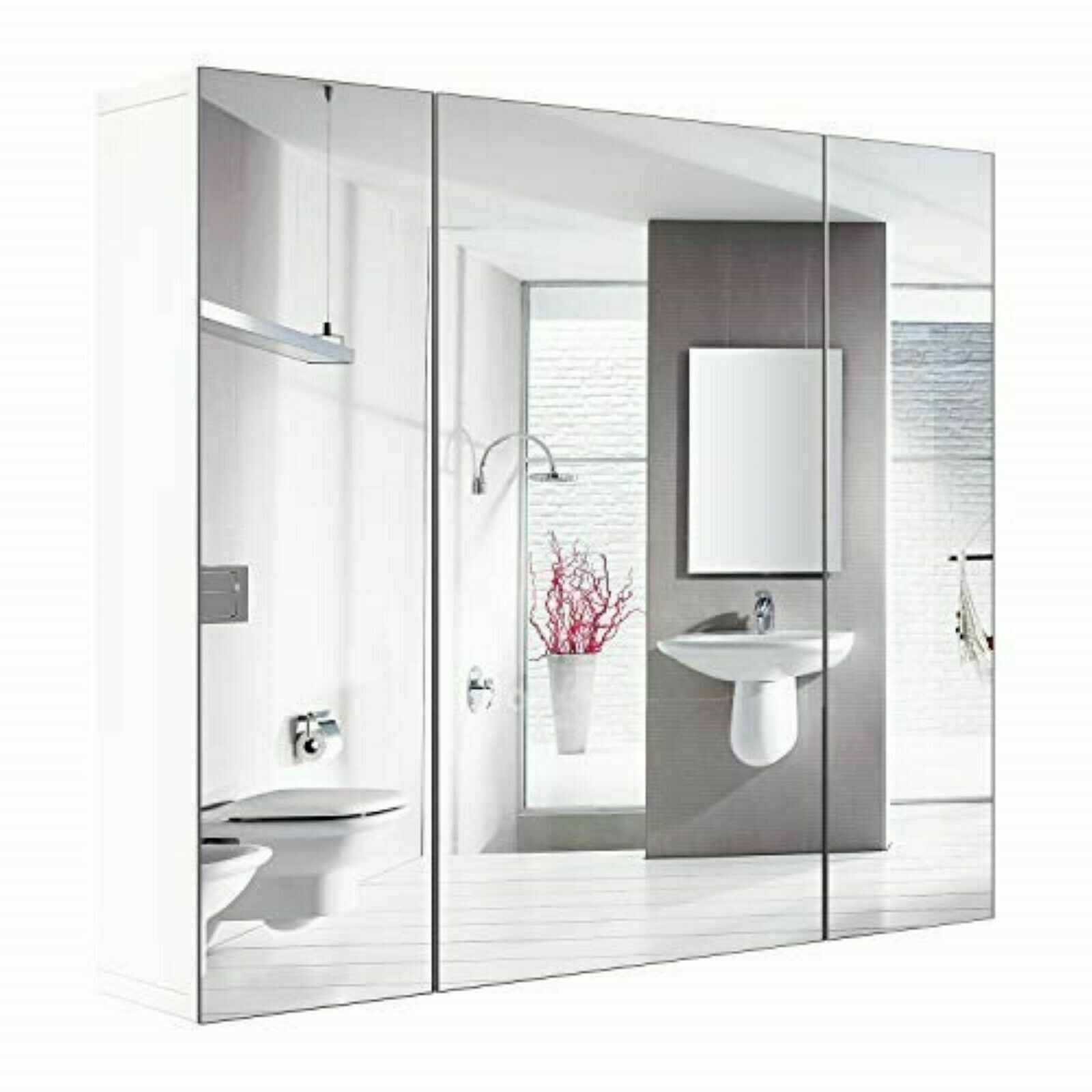 Bathroom Wall Mirror Cabinet 3 Mirror Door Kit Mirrored Medicine Toilet Storage For Sale Online
