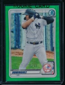 JASSON-DOMINGUEZ-2020-Bowman-Chrome-Draft-GREEN-REFRACTOR-99-Yankees-Rookie-RC