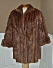 Vtg NATURAL MINK FUR Stroller Coat  Jacket womens sz M 10/12 cuffed sleeves L