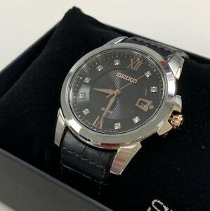 Seiko-Men-039-s-Watch-Le-Grand-Sport-Diamond-Black-Dial-Strap-SNE427