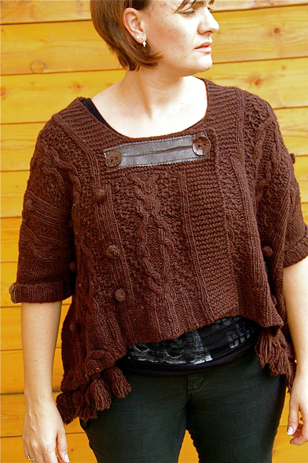 Wool vest brown winter MC PLANET T 42 new label TOP RANGE val