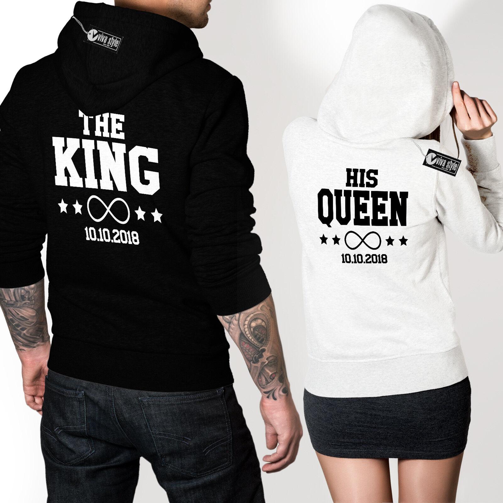 The King His Queen Datum Pulli Hoodie ideales Geschenk für Paare Freunde im SET