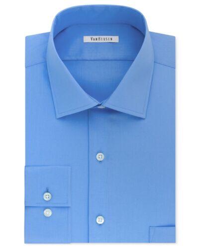 $115 Van Heusen Men Regular-Fit Blue Flex-Collar Button Dress Shirt 15.5 34//35 M