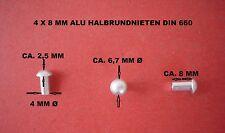 15 X ALU HALBRUNDKOPF NIETEN 4 X 8 MM DIN 660 - ALUMINIUM VOLLNIETEN (ALU 99,5)