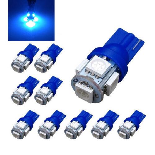 10X Ultra Bright T10 5SMD 5050 Ice Blue LED Car Interior Light Wedge Lamp BulbJA