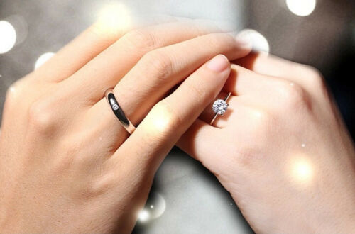 2019 Fashion Woman man Silver Love Heart Crystal Couple Wedding Adjustment Rings