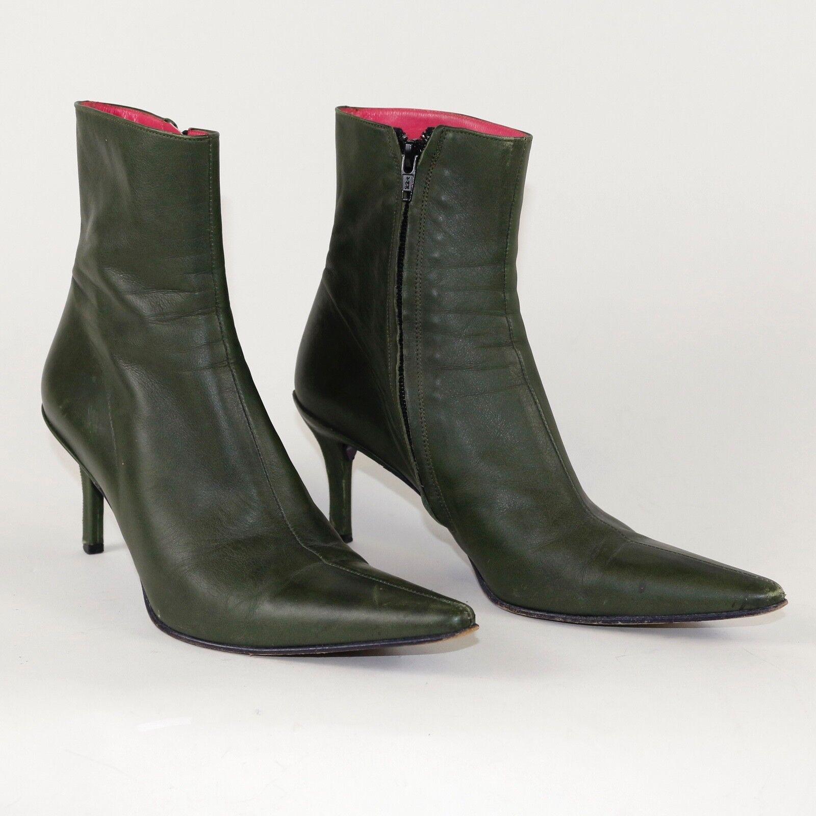 Free Lance Paris Green Olive Leder Stiefel High Heal_Sz 38 1/2